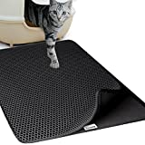 Goetland Jumbo Cat Litter Mat Trapper Kitty 29.5x22 Honeycomb Design Non-Toxic Anti-Slip Waterproof, Black