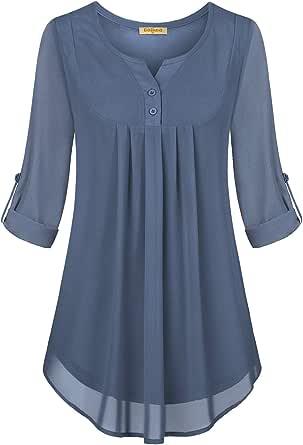 BAIKEA Women's Cross Cowl Neck Button Trim Flare Tunic Tops Soft Casual Shirts