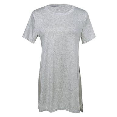 b5a18b521bb3 La Cabina T-Shirt Longue Femme Manche Courte Coté Fendu en Coton (S Poitrine