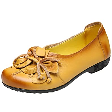 MatchLife Damen Vintage Leder Flach Pumpe Blume Schuhe, Art 2 Schwarz, 39 EU