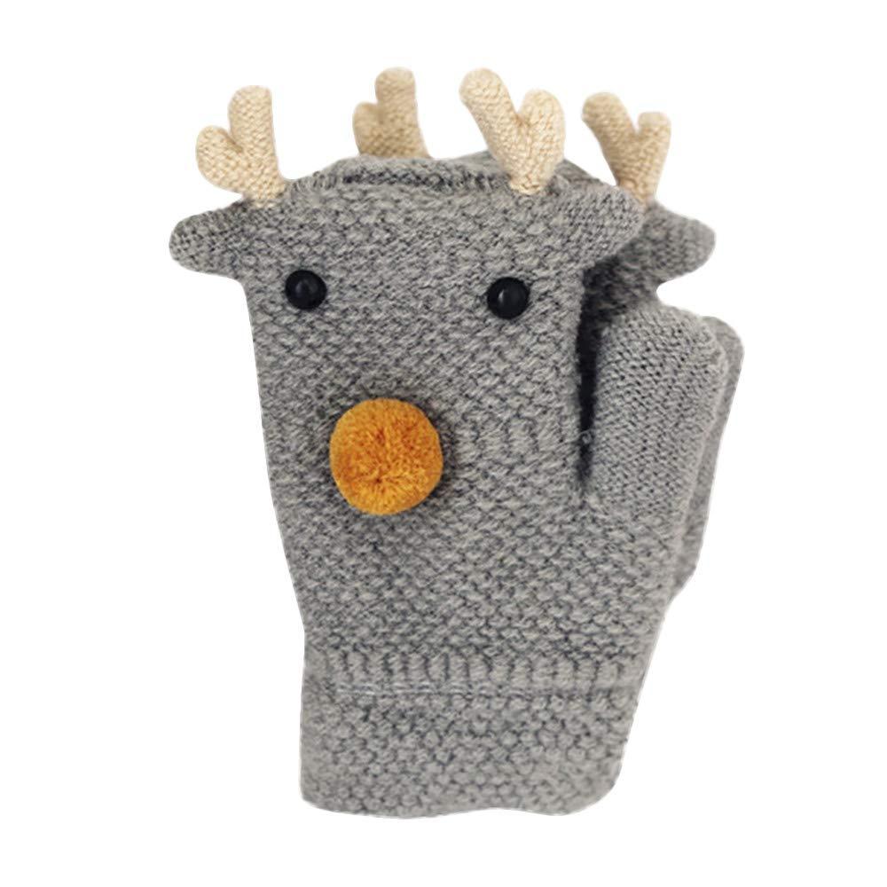 Little Kids Winter Warm Gloves, Colorful(TM) Toddler Kids Little Boy Girl Winter Warm Cartoon Deer Full Finger Mittens Knitted Gloves for 2-8 Years Old