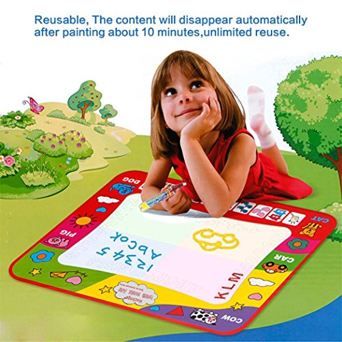 "Aqua Doodle Mat 4 Color Children Water Magic Drawing Book Mat Board & Magic Pen Doodle Kids Educational Toy Gift with 2 Magic Drawing Pens for Boys Girls Toddlers Kids Children 31.5"" x 23.6"""
