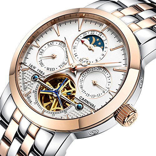 PASOY Carnival Men's Watch Automatic Mechanical Tourbillon Stainless Stell Date White Dial Skeleton Watch