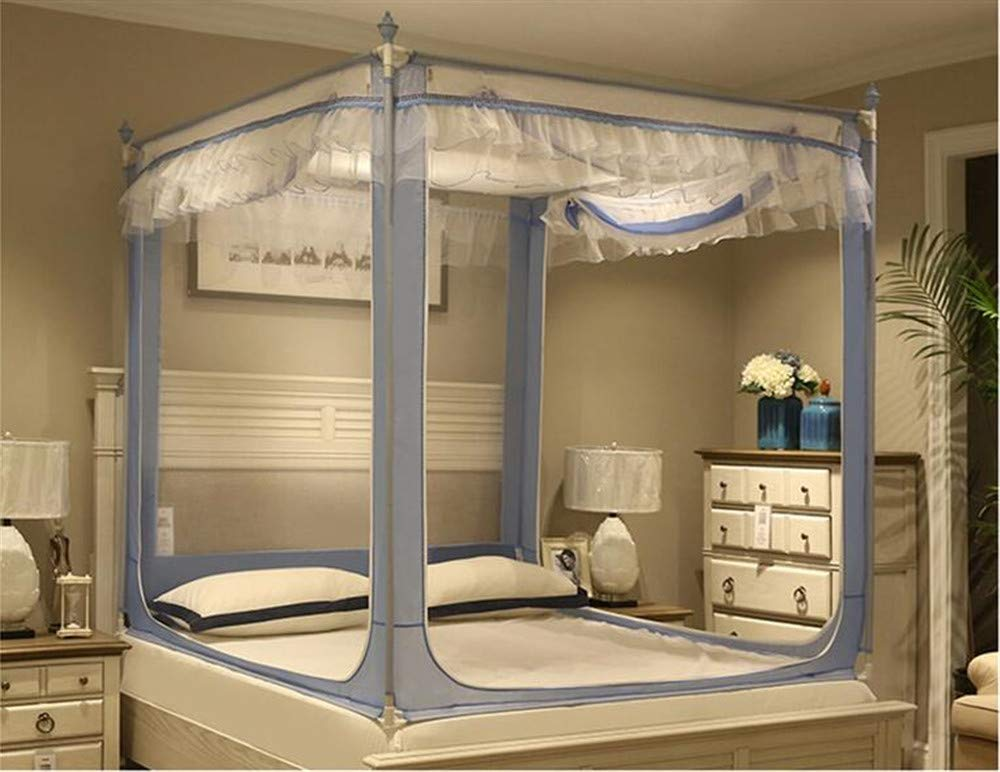 ファッション三ドア暗号化スクエアトップ蚊帳スタイルストレンジホームサポートベッドカーテン,WNB1,71