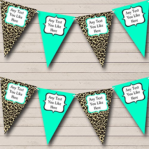 Leopard Print And Turquoise Teal Personalized Birthday Party Bunting Banner ()