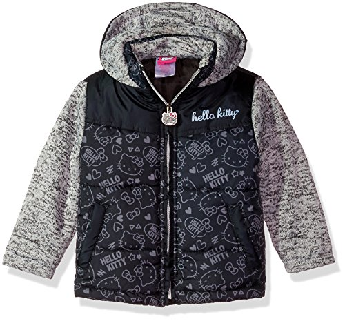 Hello Kitty Little Girls' Printed Puffer Jacket with Sweater Sleeves, Black, 5 by Hello Kitty