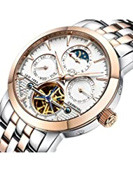 PASOY Carnival Mens Watch Automatic Mechanical Tourbillon Stainless Stell Date White Dial Skeleton Watch