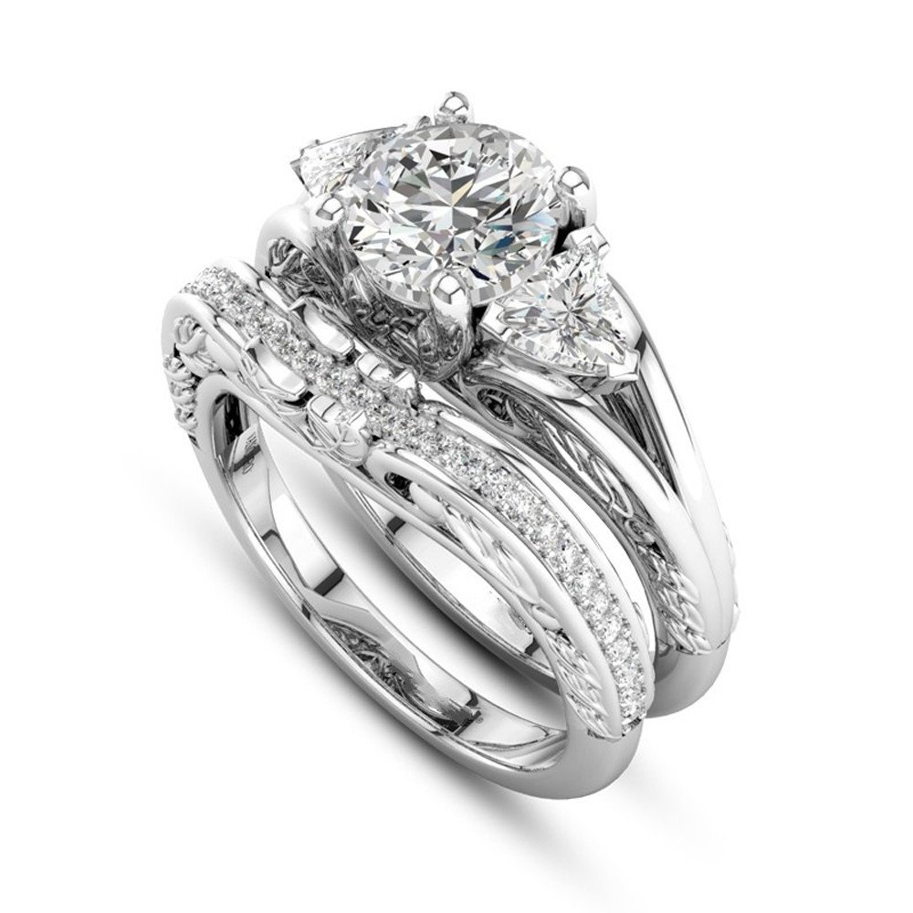 HUAMING 2-in-1Ring Women's Cubic Zirconia High Polish Stainless Steel Ring Infinity Wedding Ring Set Halo Round Valentine's Day Present (Silver, 6)