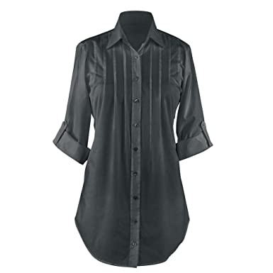 8c8fb18fbcc Women s Collared Button-Down Shirt - Roll-Sleeve Pleated Tunic for Any  Occasion