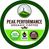 Peak Performance Organic Coffee Pods - High Altitude USDA Certified Organic Coffee Pods. Fair Trade Beans Medium Roast Single