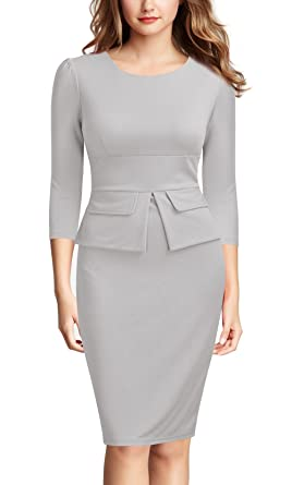 56cd39e3dc3 REPHYLLIS Women Colorblock Wear to Work Business Bodycon One-Piece Dress S  Grey at Amazon Women s Clothing store
