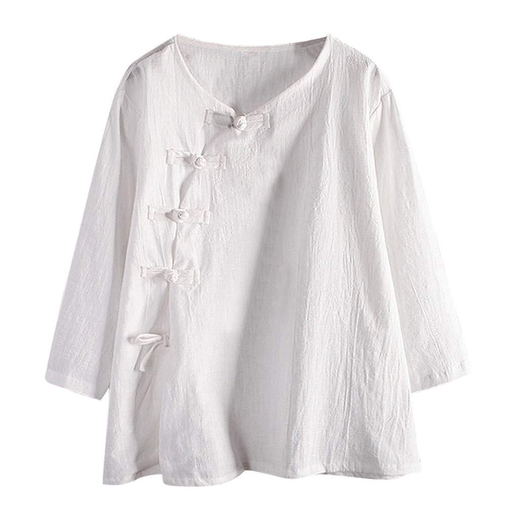BETTERUU Women Buttons Asymmetry Round Neck Long Sleeve Cotton and Linen Blouse
