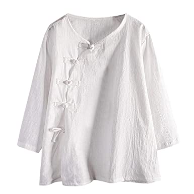 0977eb19c4 Livoty Women Linen Blouse Chinese Style Buttons Asymmetry Round Neck Long  Sleeve Plus Size Shirt Tops at Amazon Women s Clothing store