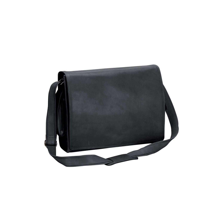 Black Natico 60-6094-BK New Yorker Leather Computer Messenger Bag