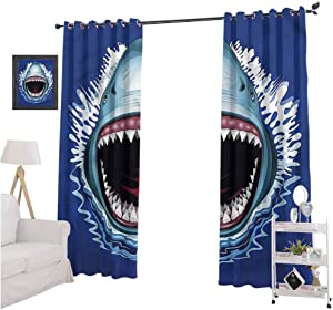 Aishare Store Room Darkening Window Treatment Drape, Shark,Attack Open Mouth Bite, 84 Inches Long Blackout Curtains for Kitchen, Set of 2 Panels