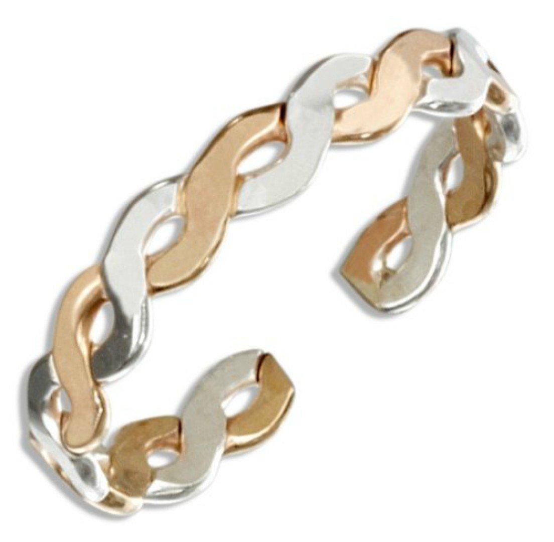 Sterling Silver 14k Gold Filled Braid Band Adjustable Toe Ring