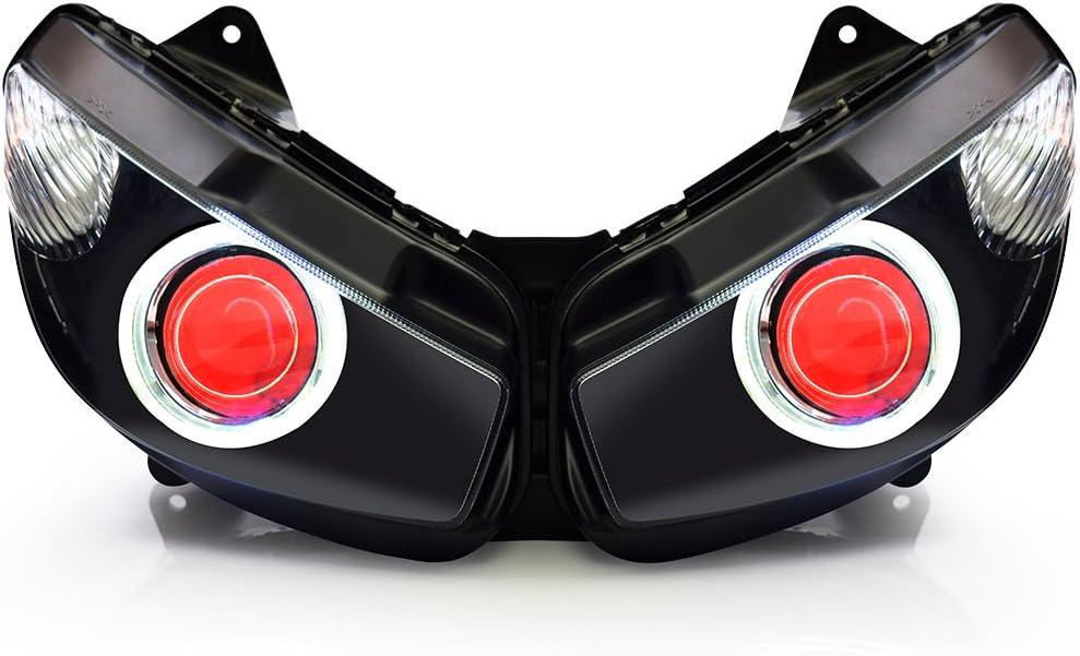 KT LED Angel Eye Headlight Assembly for Kawasaki Ninja 650R 2009-2011 Red Demon Eye