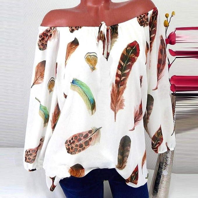 Blusa Mujers Yesmile Las Mujeres Camisa Las Mujeres Ocasionales más tamaño de la impresión de Plumas con Cuello en V Blusa Pullover Tops Camisa: Amazon.es: ...