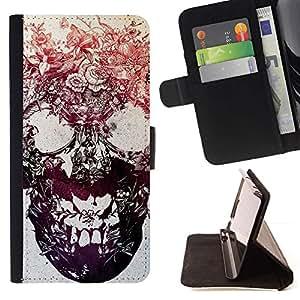 Momo Phone Case / Flip Funda de Cuero Case Cover - Tinta cráneo Flores florales metal tatuaje - Sony Xperia Style T3