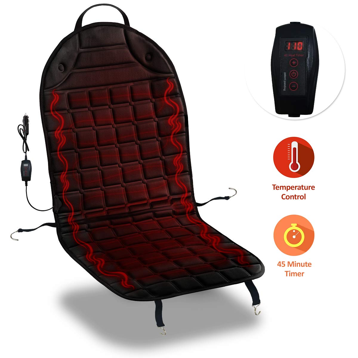 Zone Tech Car Heated Seat Cover Cushion Hot Warmer - Fireproof New and Improved 2019 Version 12V Heating Warmer Pad Cover Perfect for Cold Weather and Winter Driving