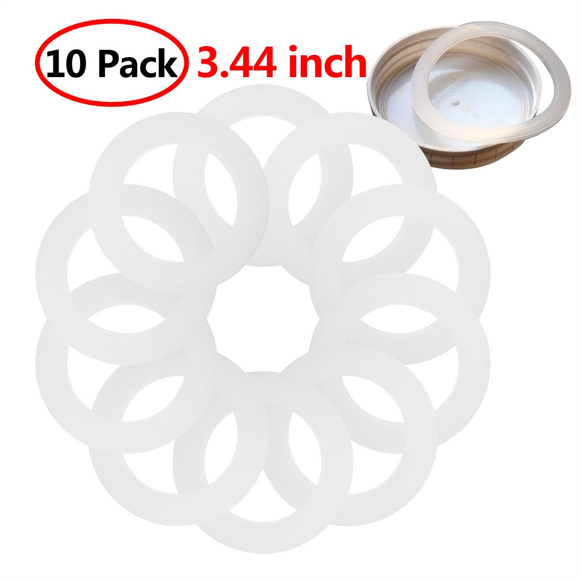 10Pcs Silicone Gasket Sealing Rings Reusable Food-Grade Airtight Rubber Seal for Mason Jar/Ball Plastic Storage Cap Caning Jar Lids White 3.44 inch by iEFiEL (Image #2)