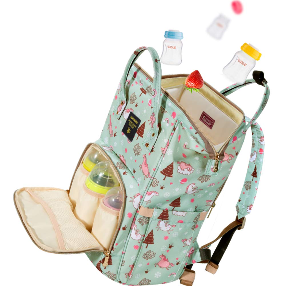 SUNVENO Diaper Bag Backpack Organizer Baby Nappy Changing Backpack Mommy Maternity Bag Waterproof Large Insulated Backpack,Basic Version (Green) by SUNVENO (Image #1)