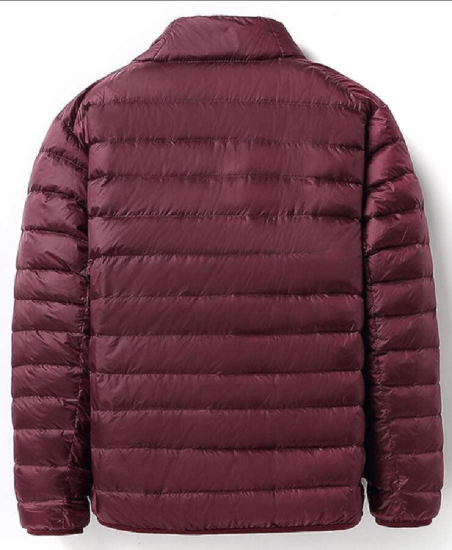 Keaac Mens Lightweight Solid Coat Stand Collar Packable Down Jacket