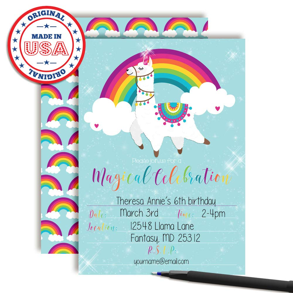 Amazon Magical Llama Unicorn Rainbow Birthday Party Invitations 20 5x7 Fill In Cards With Twenty White Envelopes By AmandaCreation Toys Games
