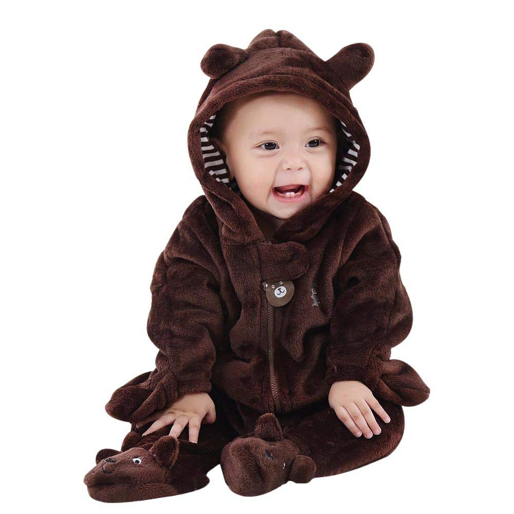 Shiningup Baby Snowsuit Bear Romper Boy Girl Footie Hoodie Overall Fleece Jumpsuit Newborn Infant Warm Autumn Winter Clothes