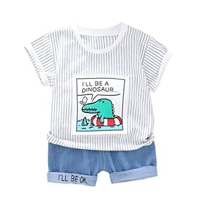 0fe7781ea Amazon.com: Toddler Baby Boy Stripe Denim Set 🏀 Fashion Cartoon ...