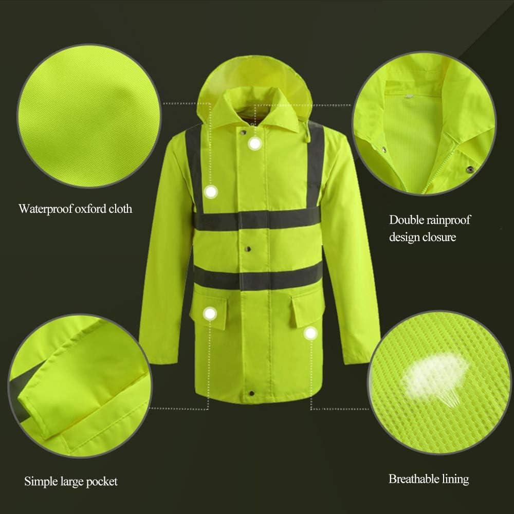 Heflashor Unisex Herren Damen Workwear Warnschutz Parka Hohe Sichtbarkeit Regenjacke Arbeitjacke Wasserdicht Atmungsaktiv Reflektierend Sicherheitsjacke Outdoor Fahrradjacke Softshelljacke