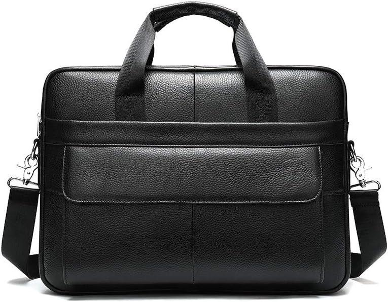Mihaojianbing Briefcase Black Retro Versatile Square Gentleman Casual Cross Bag 39x7x27cm Satchel Large Capacity Leather Handbag