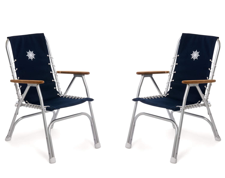 FORMA MARINE Boat Chairs High Back Navy Blue Deck Folding Marine Aluminum Teak Furniture Set of 2 M150NB