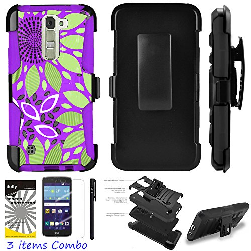 LG K10 Premier LTE L62VL L61AL Ituffy 3item: LCD Film+Stylus Pen+[Dual Layer Shock Proof][Belt Clip Holster Combo][KickStand] Armor Case (Purple Green Daisy)