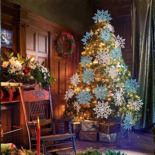kungfu Mall 12pcs Decoraciones Colgantes de Copo de Nieve con Brillo Decoraciones para Ventanas de /árboles de Navidad Azul Hielo, Blanco