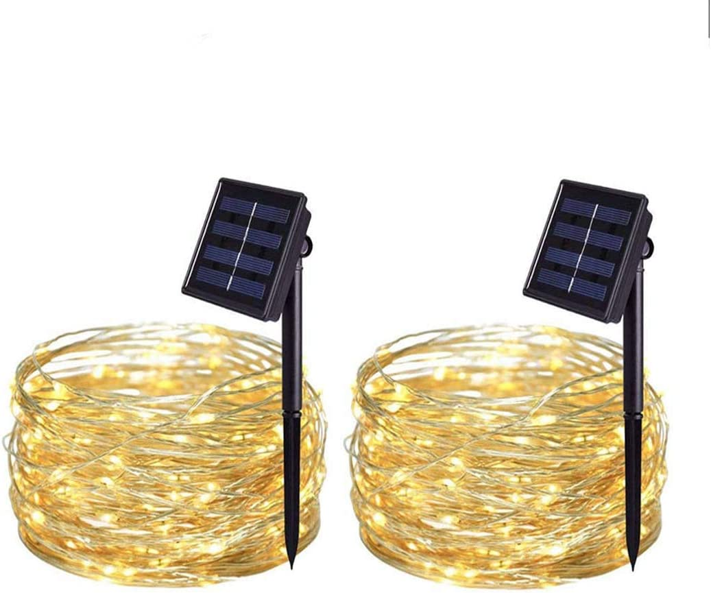 Ronfex Solar String Lights outdoor 2 Pack 33FT 100 LED Solar Powered String Lights Waterproof Garden Fairy Lights Copper Wire Lights for Patio Yard Trees Christmas Table Wedding Party Decor Warm White