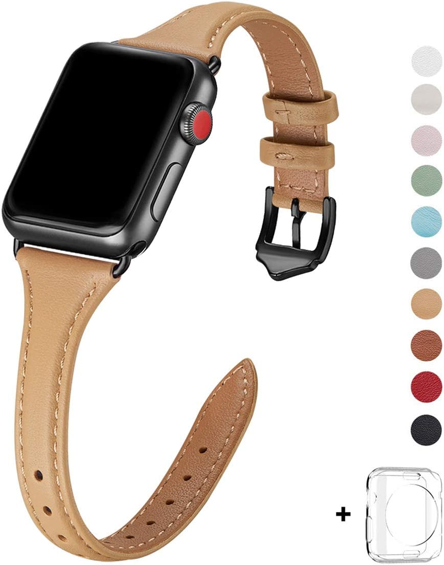 WFEAGL Leather Bands Compatible with Apple Watch 38mm 40mm 42mm 44mm, Top Grain Leather Band Slim & Thin Replacement Wristband for iWatch Series 5 & Series 4/3/2/1 (Camel Band+Black Adapter,38mm 40mm)