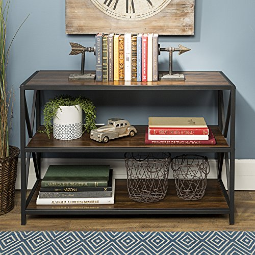 WE Furniture AZS40XMWDW Media Bookshelf, Dark Walnut