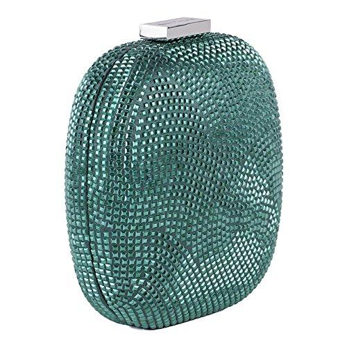Borsa clutch, Mariella Verde Scuro, in tessuto