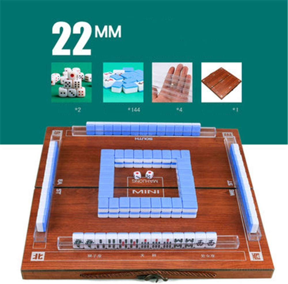 LONGSUODI Mini Mahjong Portable Bo/îtes en Bois Pliantes Majiang Set Jeu De Table Mah-Jong Voyage Voyager Jeu De Soci/ét/é Divertissement Int/érieur Green