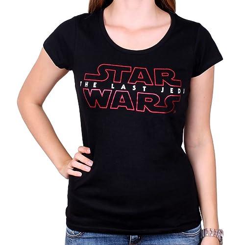 Star Wars Camiseta de las señoras El último Jedi negro Logotipo de algodón