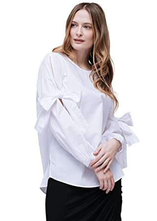 e340621aef542 Pleione Linen Bow Tie Long Sleeve Crewneck Shirt Blouse at Amazon Women s  Clothing store