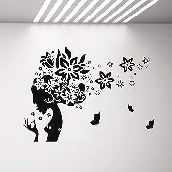 SLQUIET Mujer silueta peluquería tatuajes de pared y mariposas ...