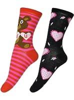 Women's Teddy Bear and Heart Motif Novelty 2-Pack Crew Socks