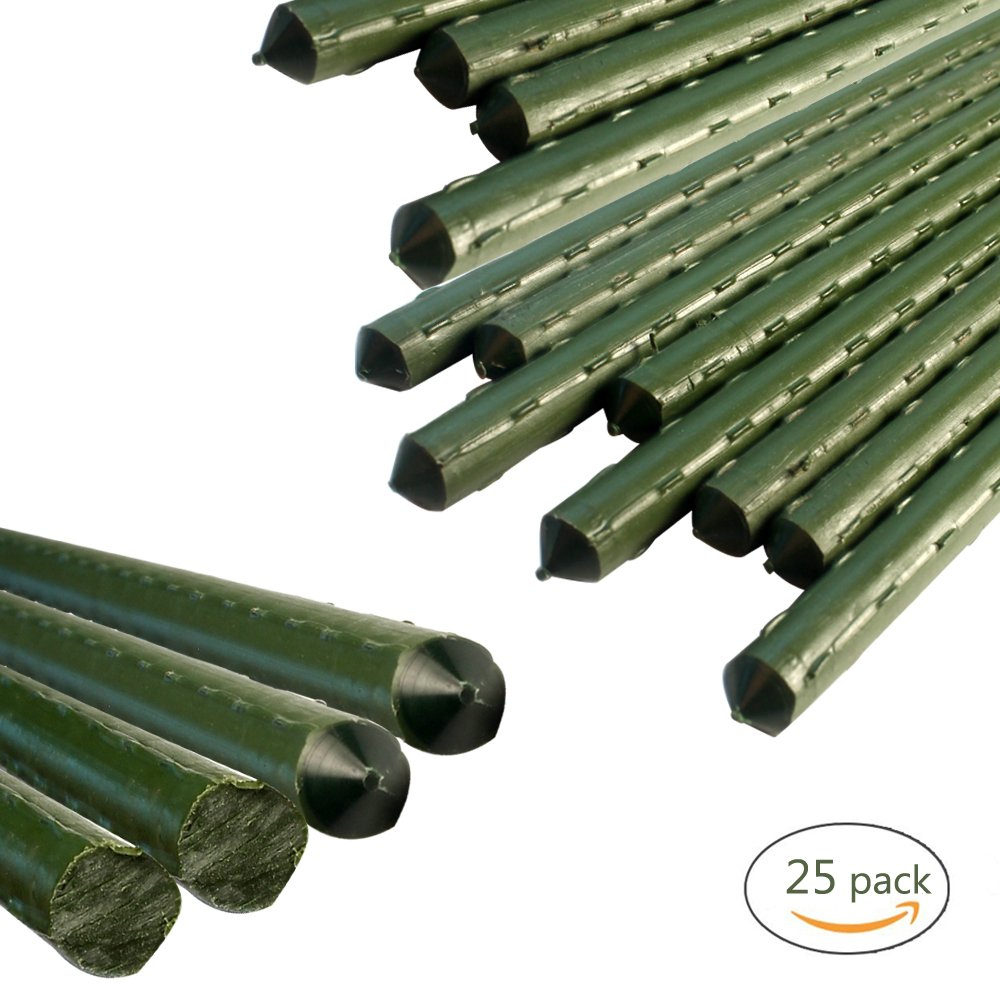 YIDIE Sturdy Metal Garden Stakes 4 Ft Plastic Coated Steel Plant Sticks,Pack of 25