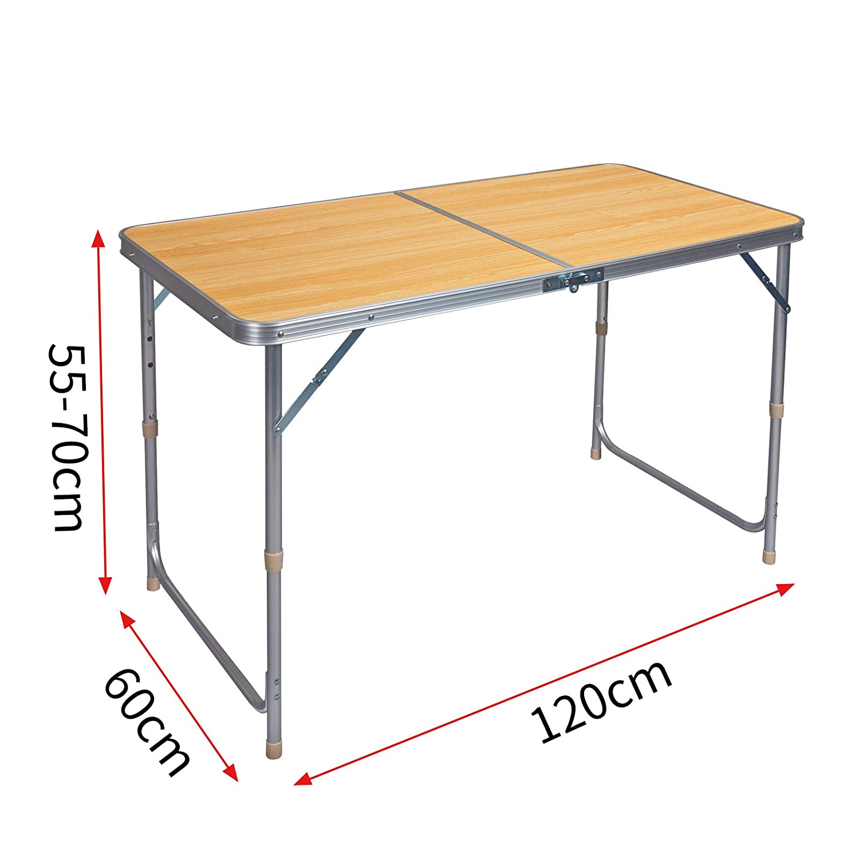 WOLTU/® CPT8122 Table de Camping Pliante Table de Jardin Table de Travail Table de Balcon r/églable en Hauteur en Aluminium MDF