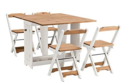 Conjunto de comedor plegable Santos, con 4 sillas plegables ...