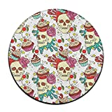 Skull Cupcake Round Area Floor Mats Entrance Entry Way Front Door Mat Ground Rugs for Decor Decorative Men Women Office