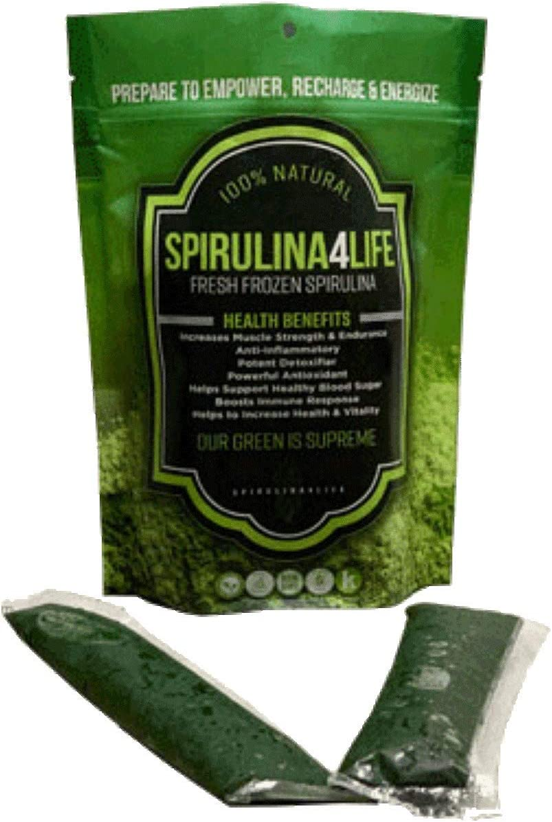 Spirulina 12 Sticks Pack 12 Day Supply Spirulina Live Flash Frozen 100 Pure Grown in Alkaline Water Grown, Harvested and Frozen in The USA Most Complete Super Food and Natural Multivitamin