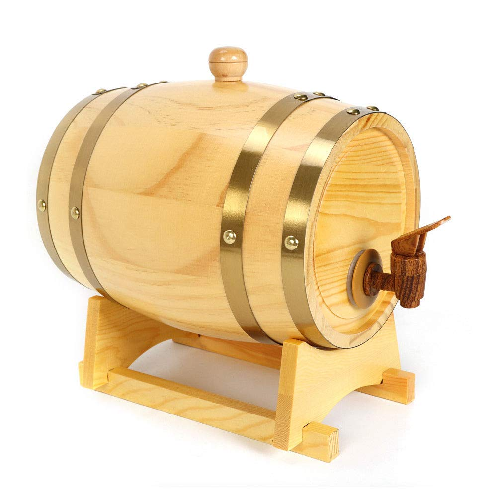 Whiskey Oak Barrel, 1.5/3/5/10 Liter Wooden Barrel for Storage Spirit Vintage Whiskey Wine Barrel with Wine Holder USA Stock (3L)